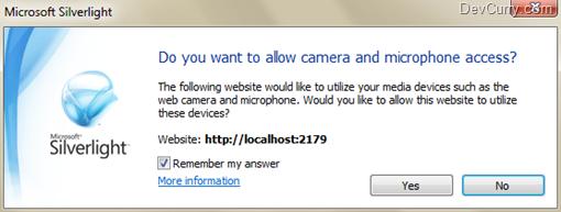 Silverlight Audio Video Permission