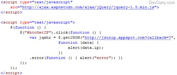 jQuery JSONP IPaddress