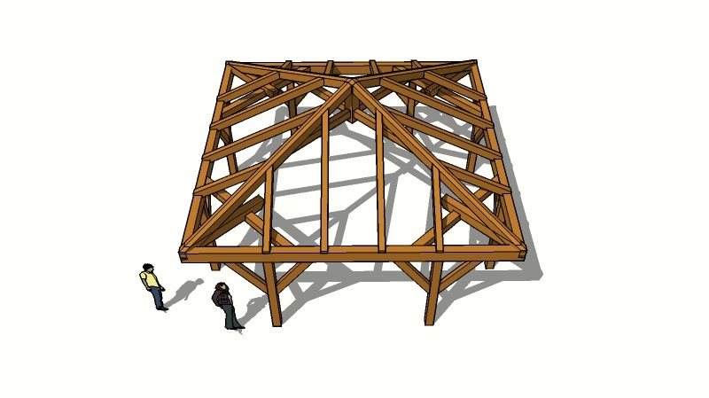 Hip roof design | Timberframe Design | Timber Frame Forums