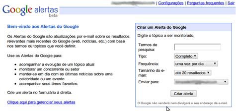 Imagem do Google Alertas