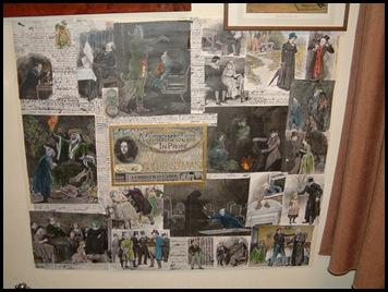 verschillende wanden met tekeningen en teksten over Dickens leven en werk.