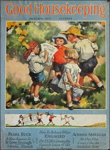 1937 Good Housekeeping Magazine  Kids with Treasure Map