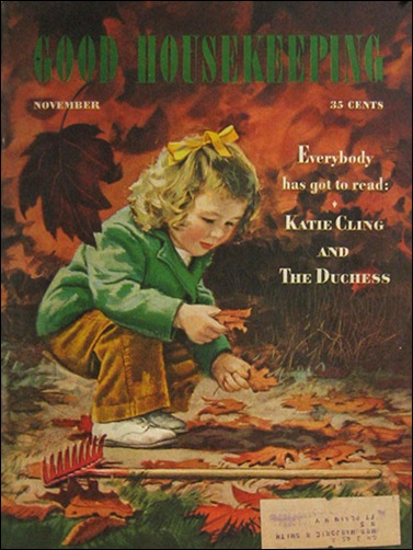 1944 Good Housekeeping Cover Child, Autumn Leaves Alex Ross