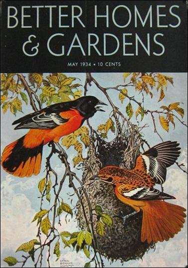 1934 Better Homes & Gardens Cover  Baltimore Oriole  Lynn Bogue Hunt