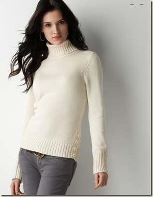 Ann Taylor Loft Button Turtleneck