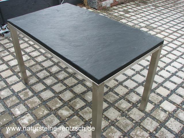 Tisch 120 70 schieferplatte mit tischgestell in edelstahl for Naturstein tisch