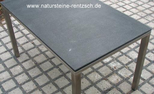Tisch edelstahlm bel esstisch mit granitplatte schwarzer for Naturstein tisch