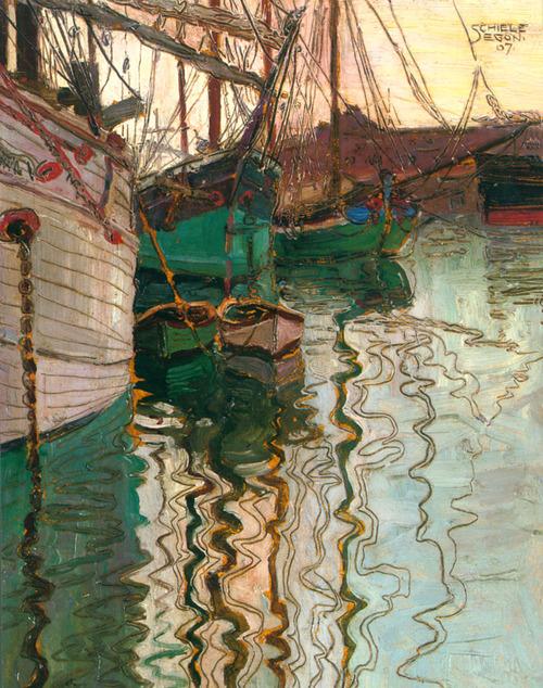 Hafen von Triest (1907) oil and pencil on card 25 x 18 cm