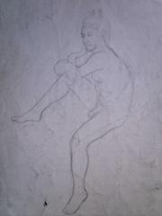 Ceea ce trebuia sa desenam la cursul pregatitor de la facultatea de arte plastice din Bucuresti - Crochiu barbat gol pusca