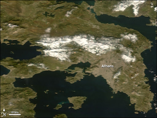 Snow in Greece Image. Caption explains image.
