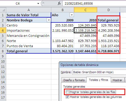 "Activar o desactivar ""Total general"" en una tabla dinámica_imagen4"