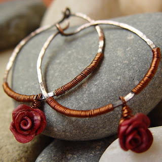 ABELLA large rustic copper hoops with roses