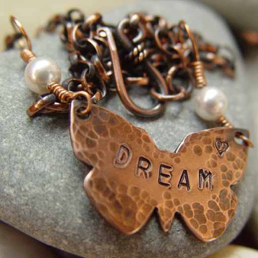 DREAM handstamped copper vegan pearl necklace