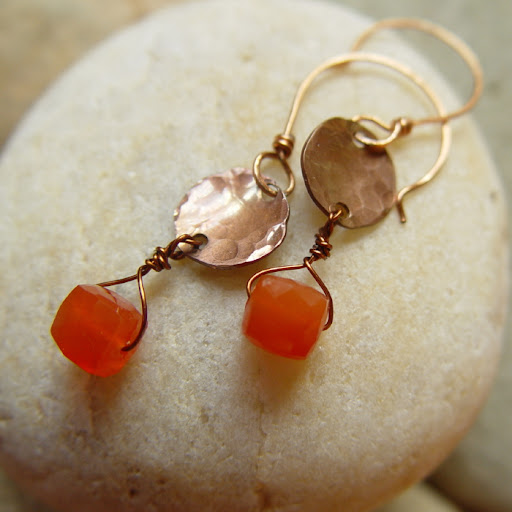Clementine copper and carnelian earrings