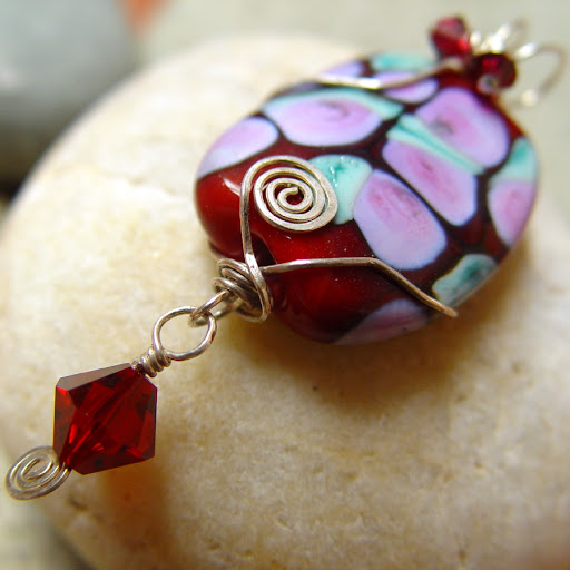 STRAWBERRY ROSE TEA red lampwork and silver pendant