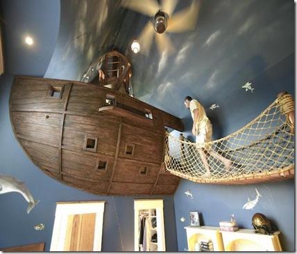 camera pentru copii - corabie pirati