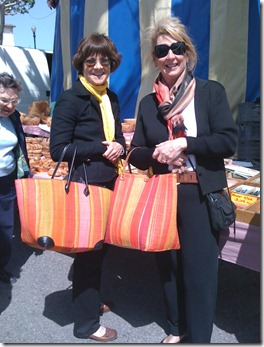 Molly and Barbara with their Orange Striped Market bags