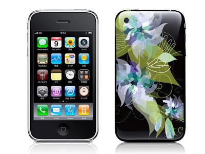 フラワーパターンC(ブラック)-iPhone3G/3GS用背面スキンカバー