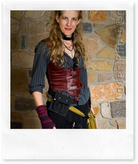 Carrie Vaughn in party-time steampunk attire
