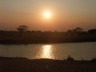 Beautiful African sunset in the Mikumi National Park in Tanzania