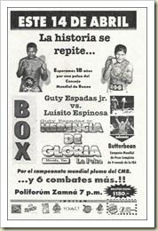 Cartel Guty Espdas Jr campeón abril de 2000
