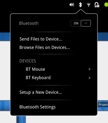 bluetooth menu gnome 3
