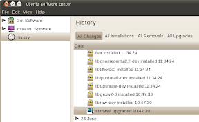 ubuntu software center upgraded history