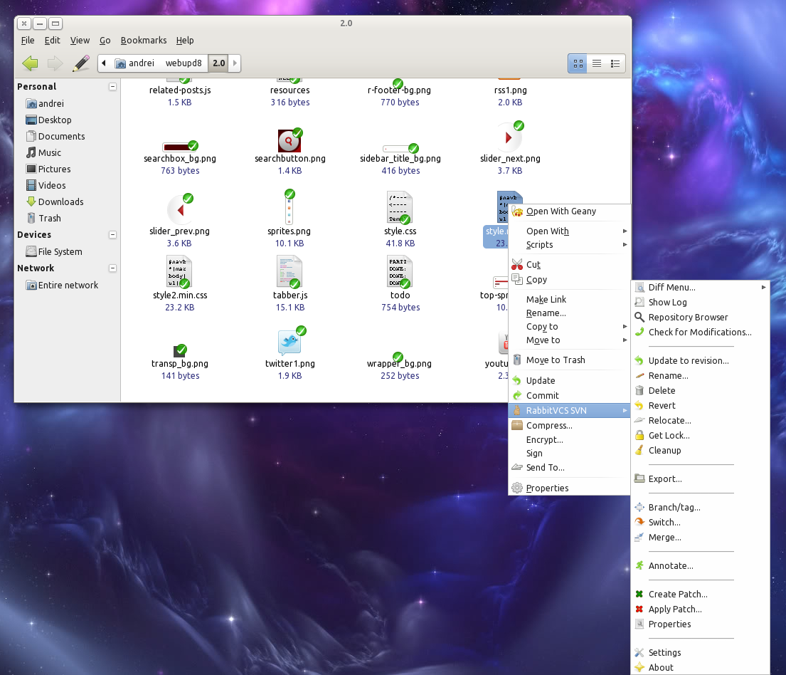 Rabbitvcs the perfect tortoisesvn alternative for linux now with rabbitvcs screenshot baditri Gallery