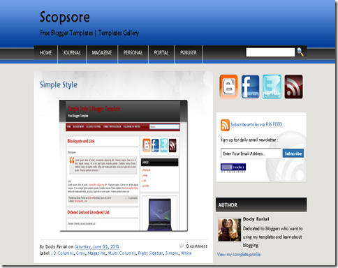 Scopsore Blogger Template
