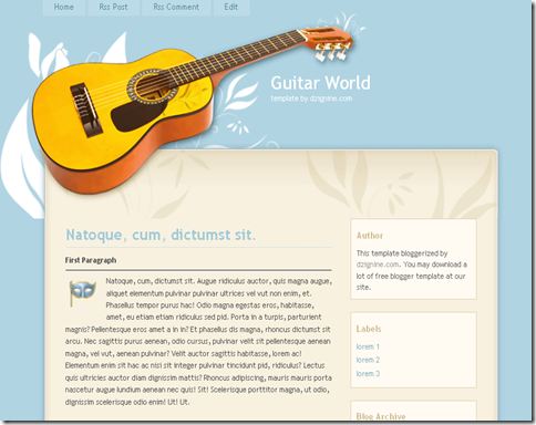 Guitar World Blogger Template