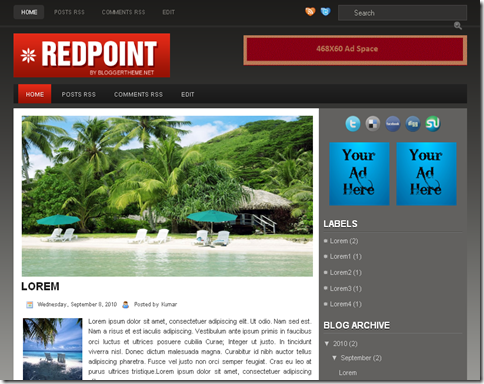 Red Point Blogger Template