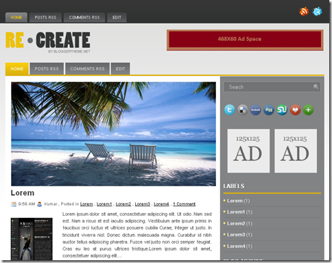 ReCreate Blogger Template