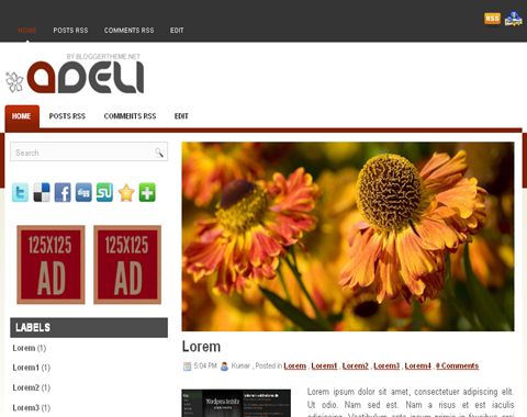 Adeli Blogger Template