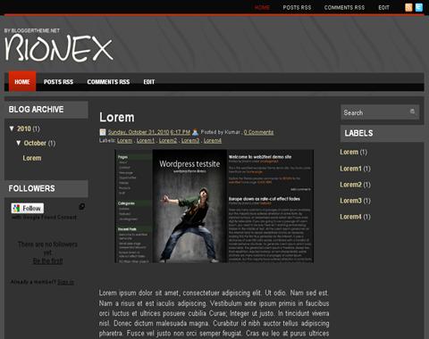 Bionex Blogger Template