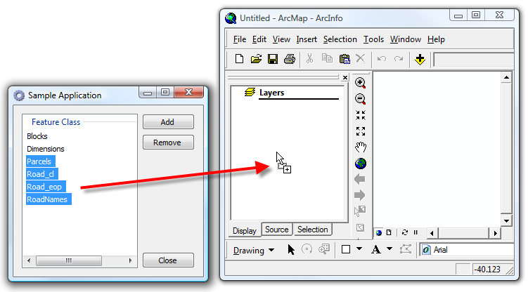 Drag and drop to ArcMap