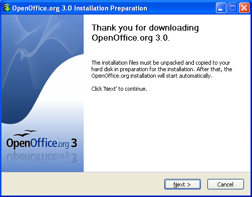 Screenshot: How to install OpenOffice.org 3.0 in a network installation: the opening dialog