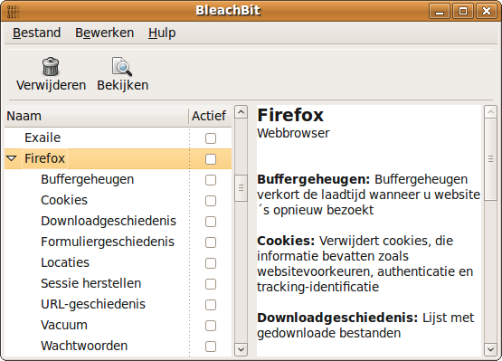BleachBit 0.5.2 on Ubuntu 9.04 (Jaunty Jackalope) ) in Dutch (Nederlands)