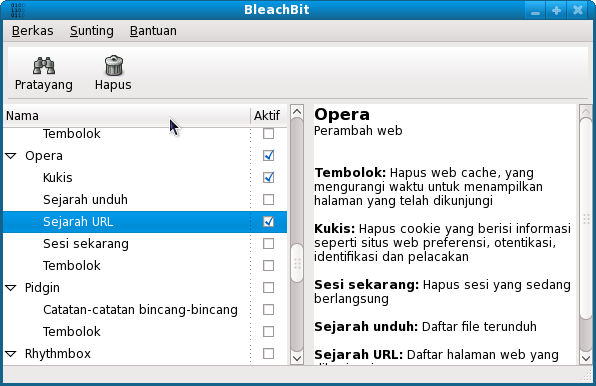 BleachBit 0.6.0 in Indonesian on Fedora 11 (Leonidas)