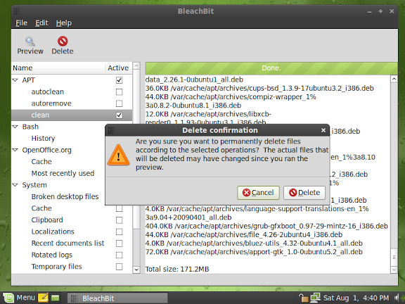 BleachBit 0.6.0 on Linux Mint 7