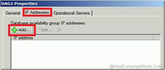 IP Address tab in DAG Properties