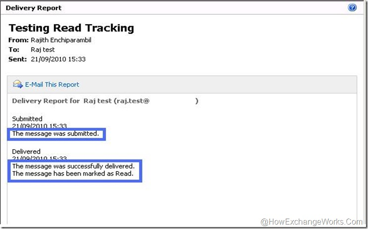 Read tracking in Exchange 2010 - read message