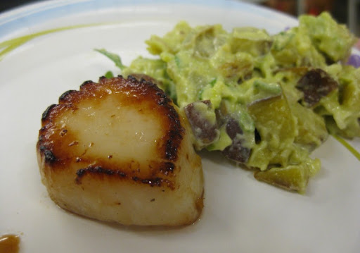 Seared scallop with potato salad