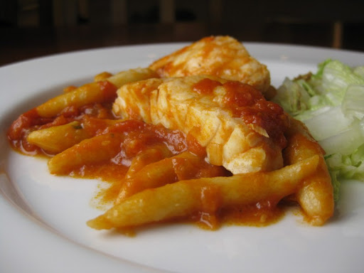 "Rock Cod with Gnocchi ""Worms"" in Tomato Sauce"