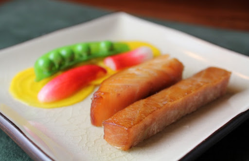 Smoked Fish Duo with Peas and Quick-Pickled Breakfast Radish and Beet