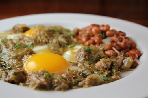 Huevos Salseados with Pork Chile Verde