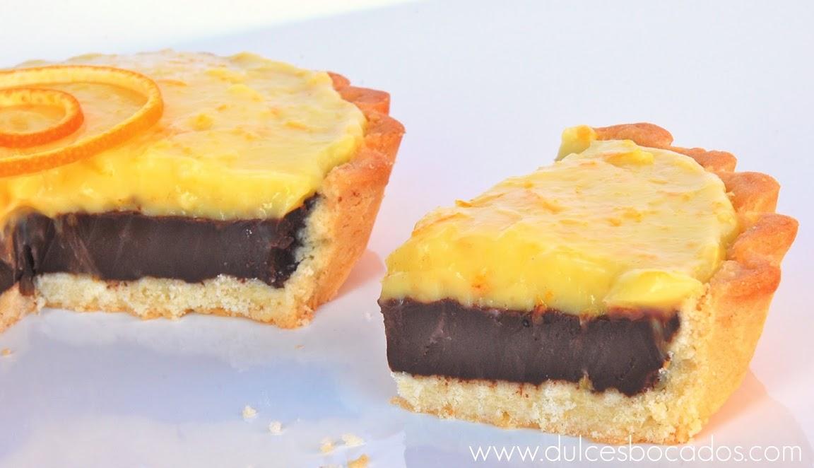 tarta de chocolate y curd de naranja