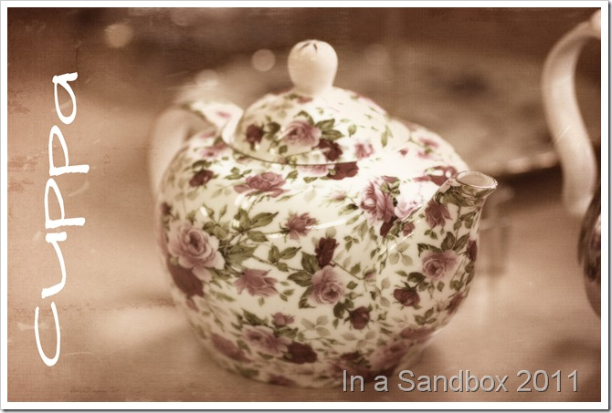 flower tea pot textured