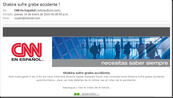 Supuesto mail de CNN Shakira -- cuydm