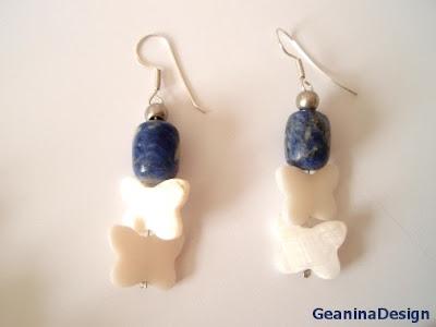 Cercei din agate albastre, GeaninaDesign.
