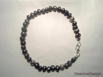 Colier din perle negre Biwa cu incheietoare din argint, GeaninaDesign.